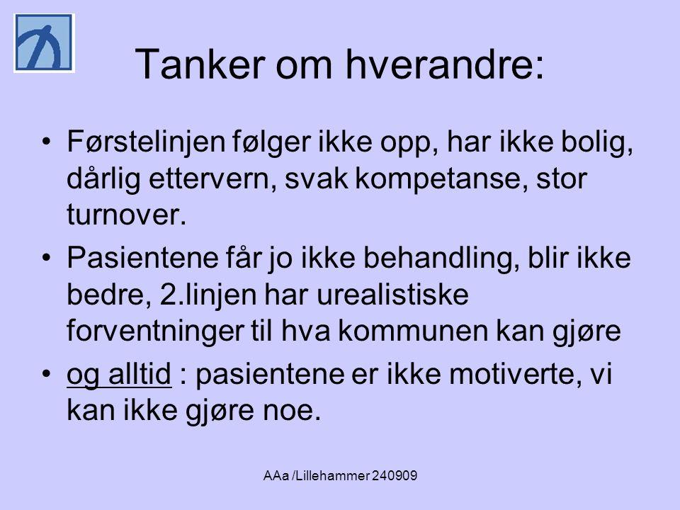 AAa /Lillehammer 240909 Tanker om hverandre: •Førstelinjen følger ikke opp, har ikke bolig, dårlig ettervern, svak kompetanse, stor turnover.