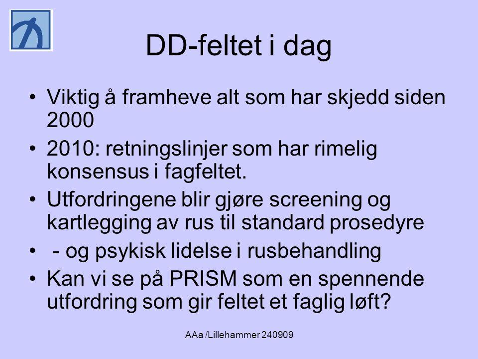 AAa /Lillehammer 240909 DD-feltet i dag •Viktig å framheve alt som har skjedd siden 2000 •2010: retningslinjer som har rimelig konsensus i fagfeltet.