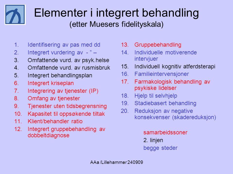 AAa /Lillehammer 240909 Elementer i integrert behandling (etter Muesers fidelityskala) 1.Identifisering av pas med dd 2.Integrert vurdering av - – 3.Omfattende vurd.