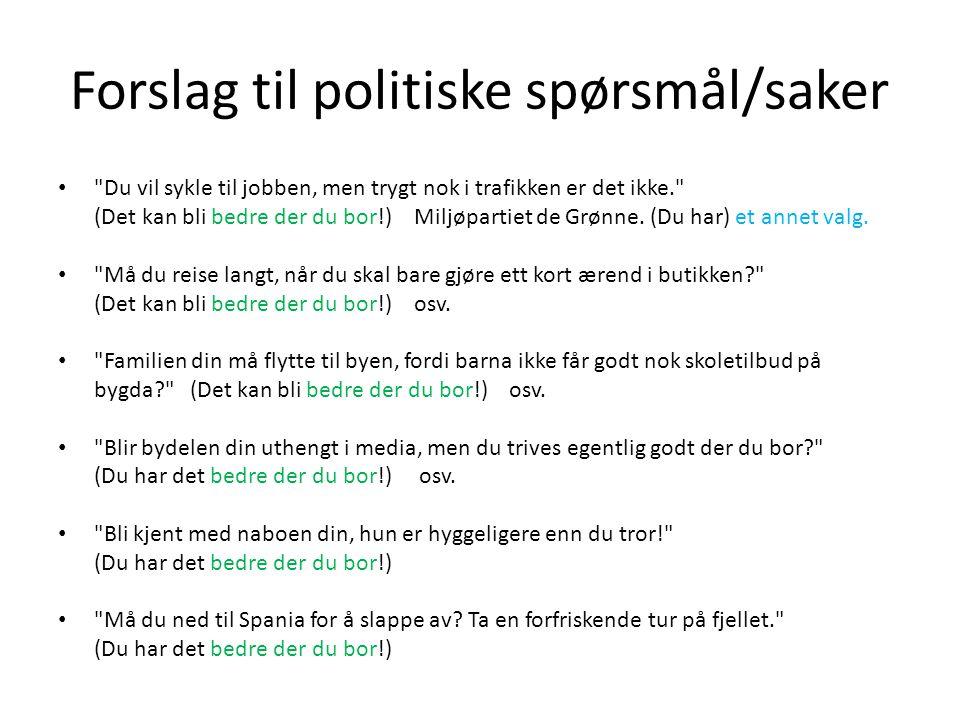 Forslag til politiske spørsmål/saker •