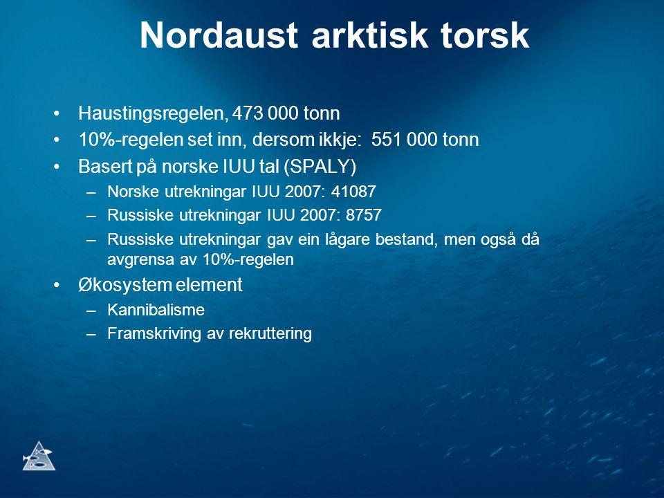 Nordaust arktisk torsk •Haustingsregelen, 473 000 tonn •10%-regelen set inn, dersom ikkje: 551 000 tonn •Basert på norske IUU tal (SPALY) –Norske utrekningar IUU 2007: 41087 –Russiske utrekningar IUU 2007: 8757 –Russiske utrekningar gav ein lågare bestand, men også då avgrensa av 10%-regelen •Økosystem element –Kannibalisme –Framskriving av rekruttering
