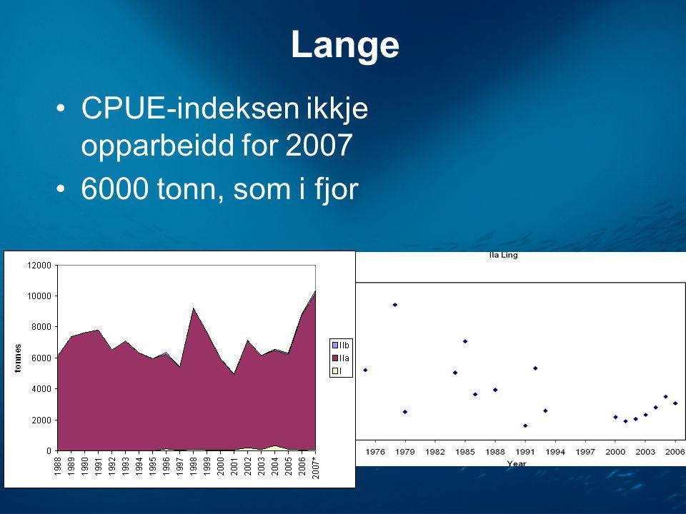 Lange •CPUE-indeksen ikkje opparbeidd for 2007 •6000 tonn, som i fjor