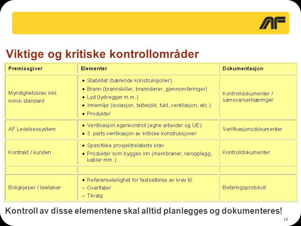18 Viktige og kritiske kontrollområder Kontroll av disse elementene skal alltid planlegges og dokumenteres!