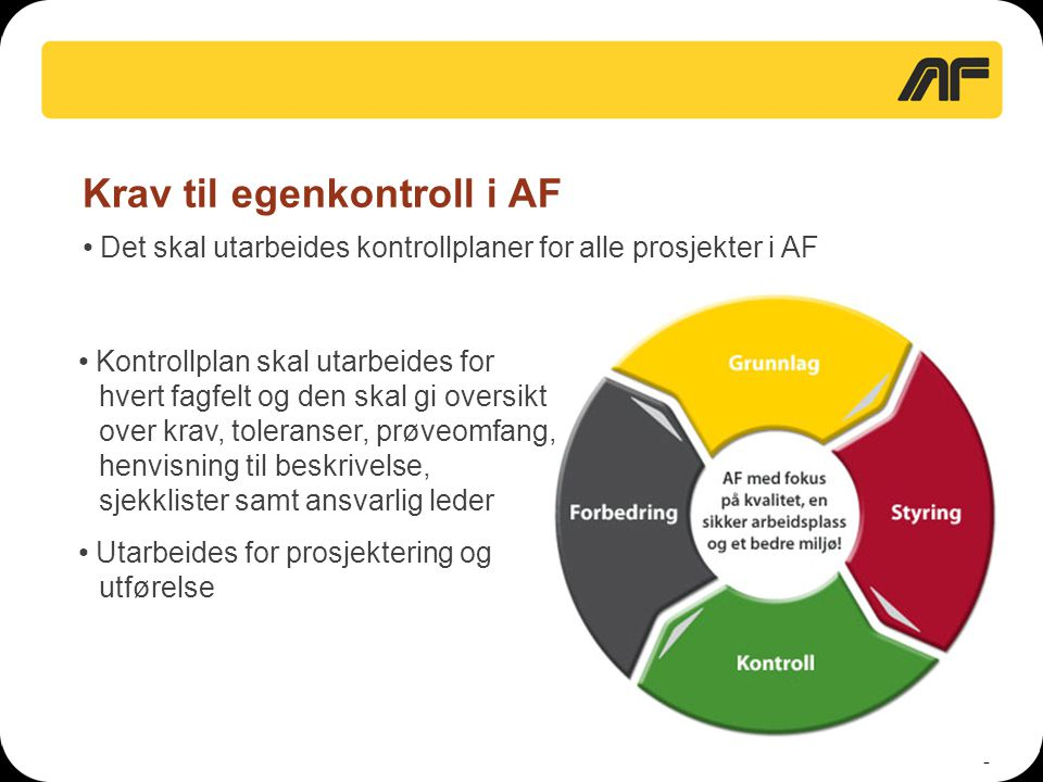 2 Krav til egenkontroll i AF • Det skal utarbeides kontrollplaner for alle prosjekter i AF • Kontrollplan skal utarbeides for hvert fagfelt og den ska