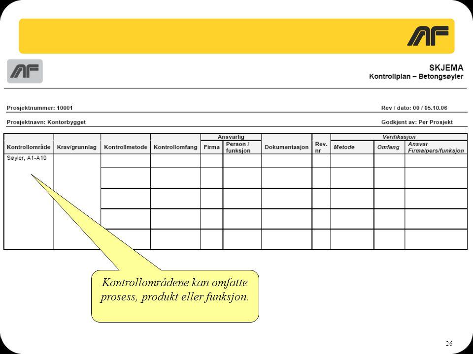26 Kontrollområdene kan omfatte prosess, produkt eller funksjon.