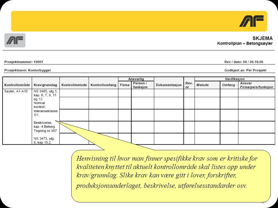 27 Henvisning til hvor man finner spesifikke krav som er kritiske for kvaliteten knyttet til aktuelt kontrollområde skal listes opp under krav/grunnla