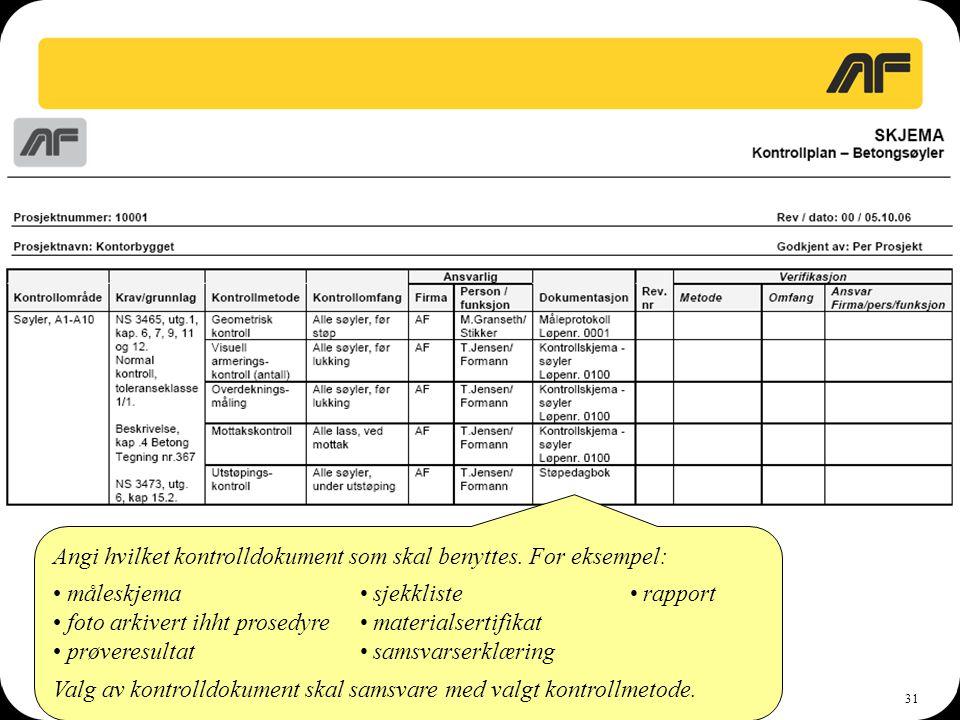 31 Angi hvilket kontrolldokument som skal benyttes. For eksempel: • måleskjema • sjekkliste• rapport • foto arkivert ihht prosedyre • materialsertifik