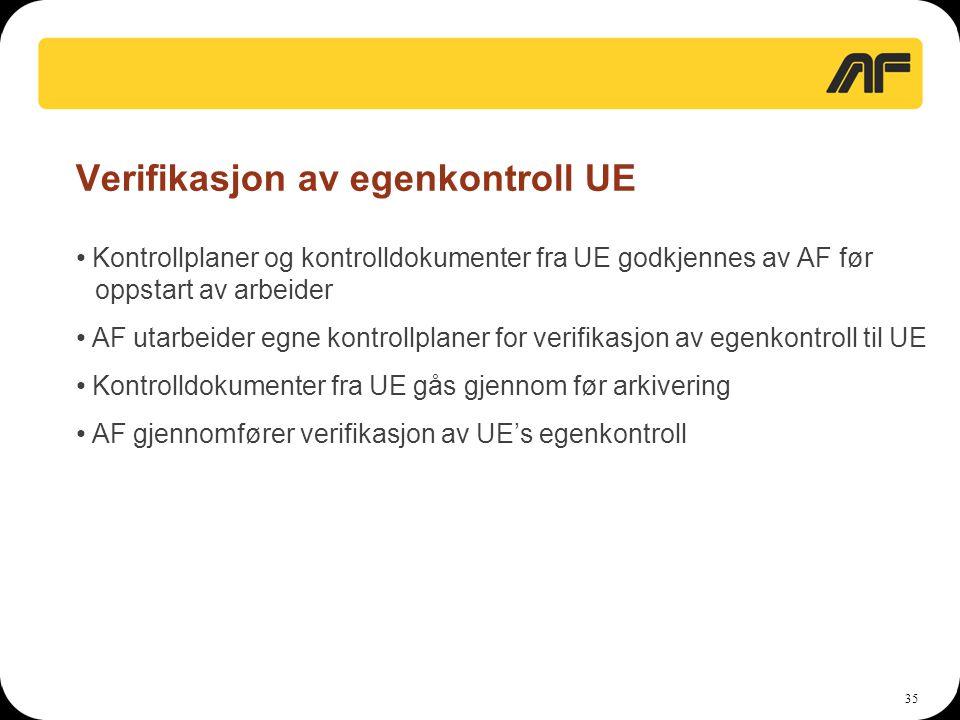 35 Verifikasjon av egenkontroll UE • Kontrollplaner og kontrolldokumenter fra UE godkjennes av AF før oppstart av arbeider • AF utarbeider egne kontro