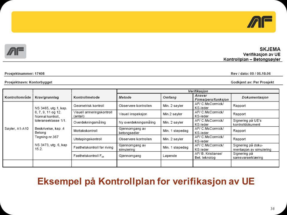 36 Eksempel på Kontrollplan for verifikasjon av UE