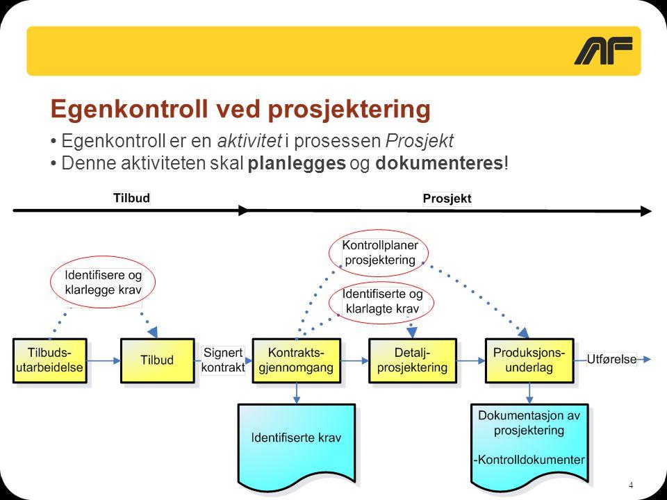35 Verifikasjon av egenkontroll UE • Kontrollplaner og kontrolldokumenter fra UE godkjennes av AF før oppstart av arbeider • AF utarbeider egne kontrollplaner for verifikasjon av egenkontroll til UE • Kontrolldokumenter fra UE gås gjennom før arkivering • AF gjennomfører verifikasjon av UE's egenkontroll