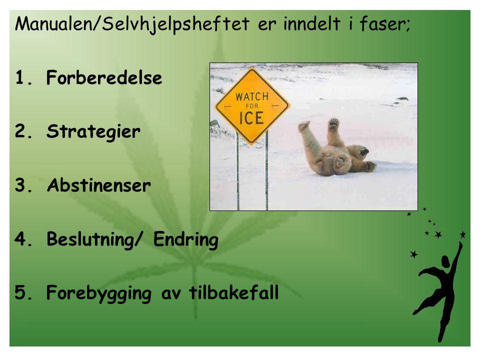 Manualen/Selvhjelpsheftet er inndelt i faser; 1.Forberedelse 2.Strategier 3.Abstinenser 4.Beslutning/ Endring 5.Forebygging av tilbakefall