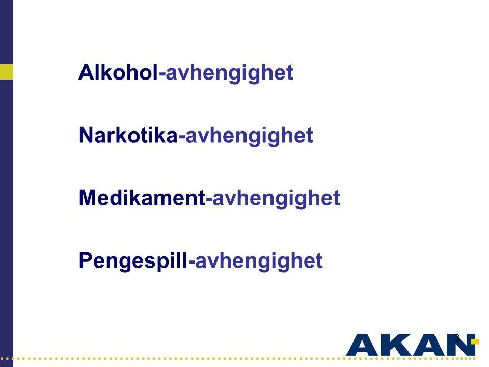 …………………………………………………………………………..... 3 Alkohol-avhengighet Narkotika-avhengighet Medikament-avhengighet Pengespill-avhengighet