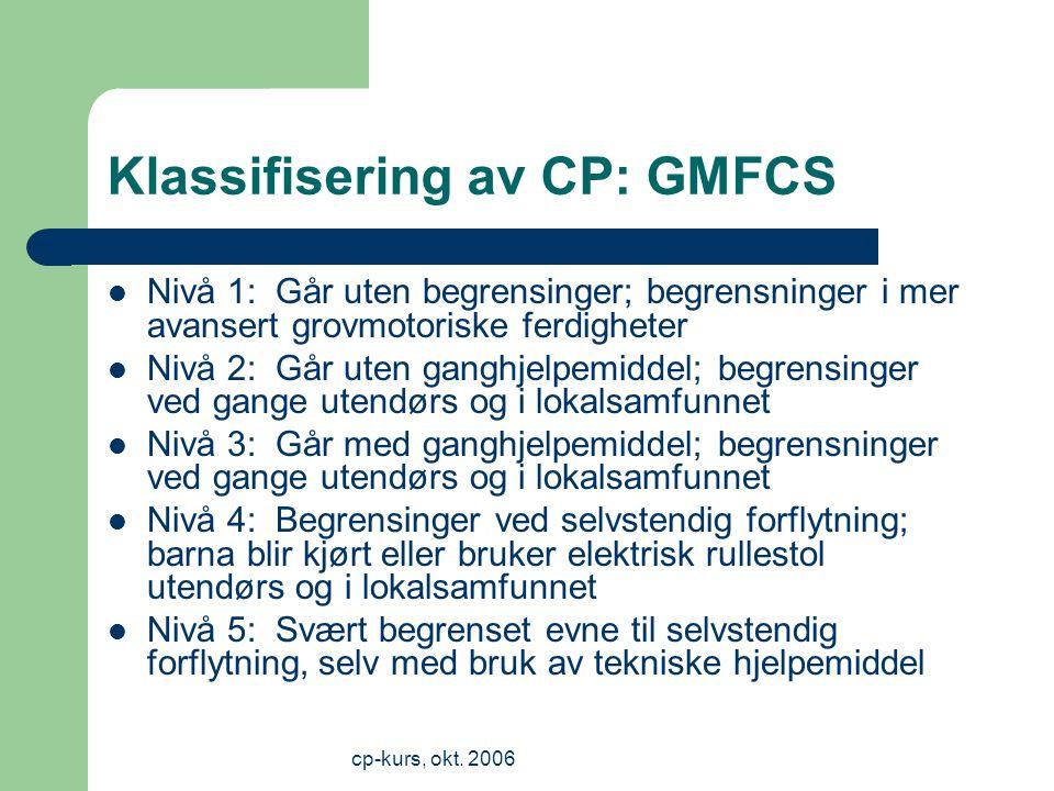 cp-kurs, okt.2006 Hva er lett, og hva er moderat CP.