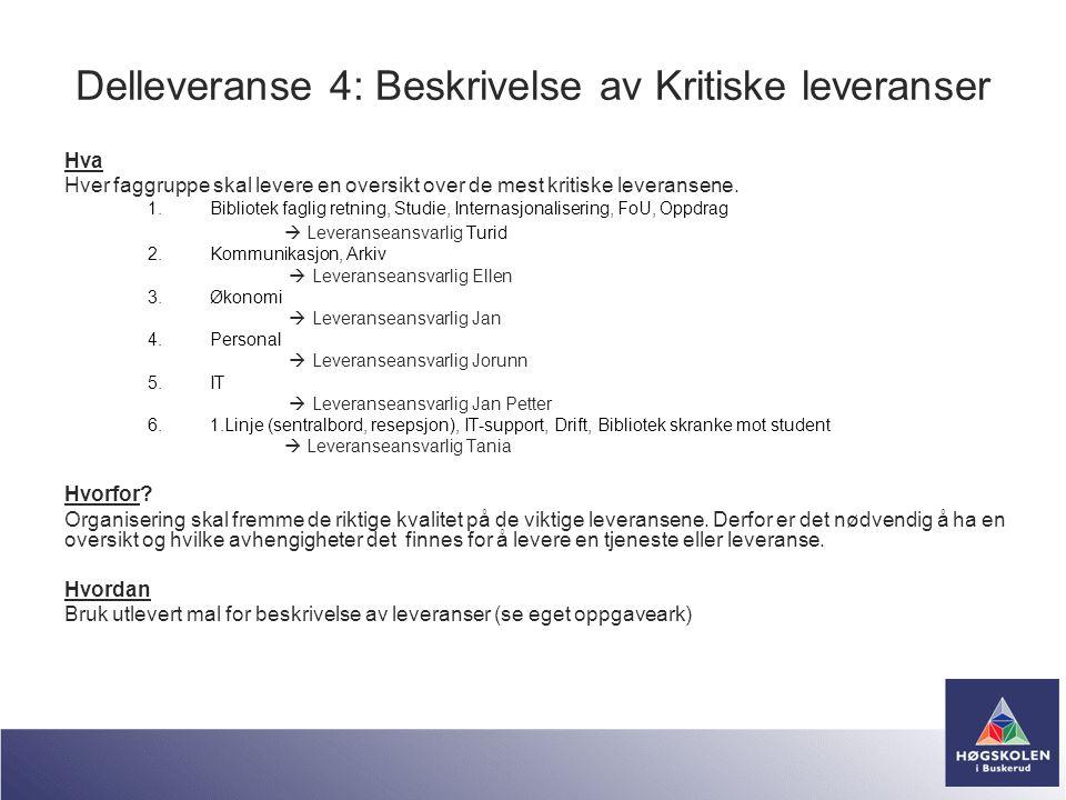 Delleveranse 4: Beskrivelse av Kritiske leveranser Hva Hver faggruppe skal levere en oversikt over de mest kritiske leveransene. 1.Bibliotek faglig re
