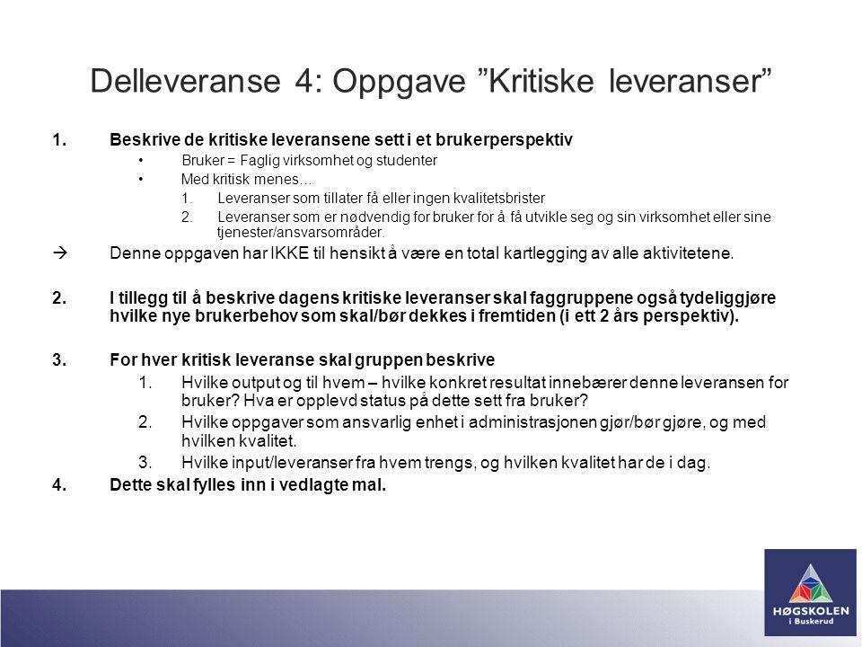 """Delleveranse 4: Oppgave """"Kritiske leveranser"""" 1.Beskrive de kritiske leveransene sett i et brukerperspektiv •Bruker = Faglig virksomhet og studenter •"""