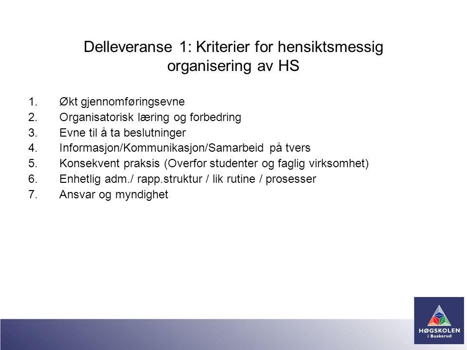 Delleveranse 1: Kriterier for hensiktsmessig organisering av HS 1.Økt gjennomføringsevne 2.Organisatorisk læring og forbedring 3.Evne til å ta beslutn