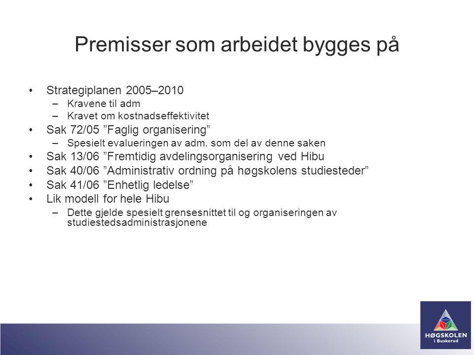 """Premisser som arbeidet bygges på •Strategiplanen 2005–2010 –Kravene til adm –Kravet om kostnadseffektivitet •Sak 72/05 """"Faglig organisering"""" –Spesielt"""