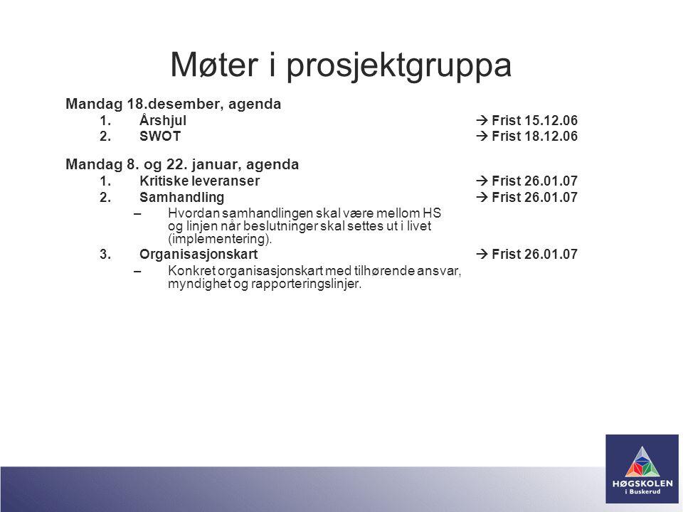 Møter i prosjektgruppa Mandag 18.desember, agenda 1.Årshjul  Frist 15.12.06 2.SWOT  Frist 18.12.06 Mandag 8. og 22. januar, agenda 1.Kritiske levera