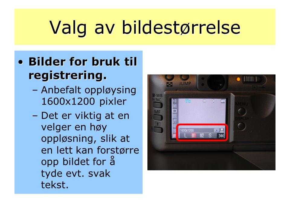 Valg av bildestørrelse •Bilder for bruk til registrering. –Anbefalt oppløysing 1600x1200 pixler –Det er viktig at en velger en høy oppløsning, slik at