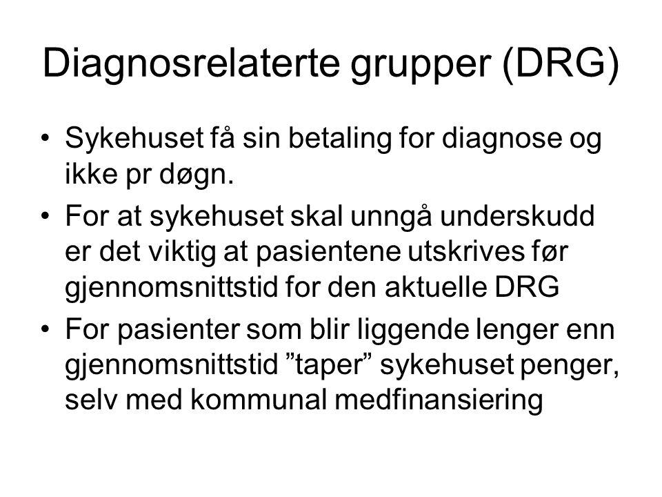 Diagnosrelaterte grupper (DRG) •Sykehuset få sin betaling for diagnose og ikke pr døgn. •For at sykehuset skal unngå underskudd er det viktig at pasie