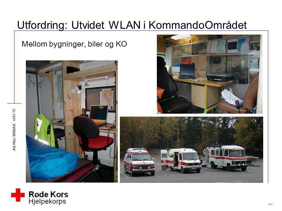 Ad-Hoc WiMAX side 10 Utfordring: Utvidet WLAN i KommandoOmrådet Mellom bygninger, biler og KO