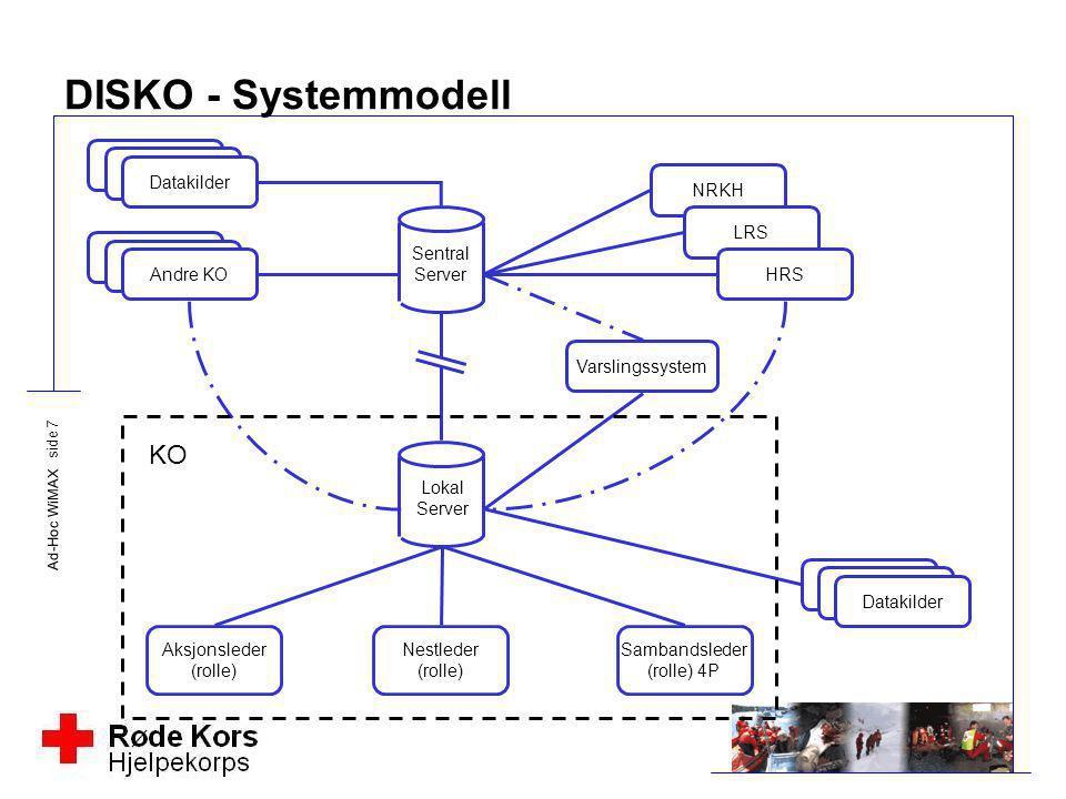 Ad-Hoc WiMAX side 7 DISKO - Systemmodell DatakilderAndre KO NRKH LRS HRS Varslingssystem Datakilder Lokal Server Aksjonsleder (rolle) Nestleder (rolle