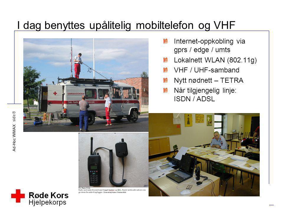 Ad-Hoc WiMAX side 8 I dag benyttes upålitelig mobiltelefon og VHF Internet-oppkobling via gprs / edge / umts Lokalnett WLAN (802.11g) VHF / UHF-samban