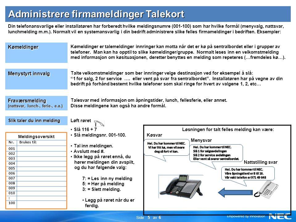 Side 5 av 6 Administrere firmameldinger Talekort Din telefonansvarlige eller installatøren har forberedt hvilke meldingsnumre (001-100) som har hvilke