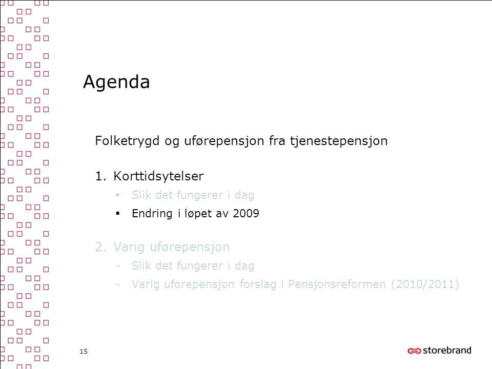 15 Agenda Folketrygd og uførepensjon fra tjenestepensjon 1.Korttidsytelser  Slik det fungerer i dag  Endring i løpet av 2009 2.Varig uførepensjon -S