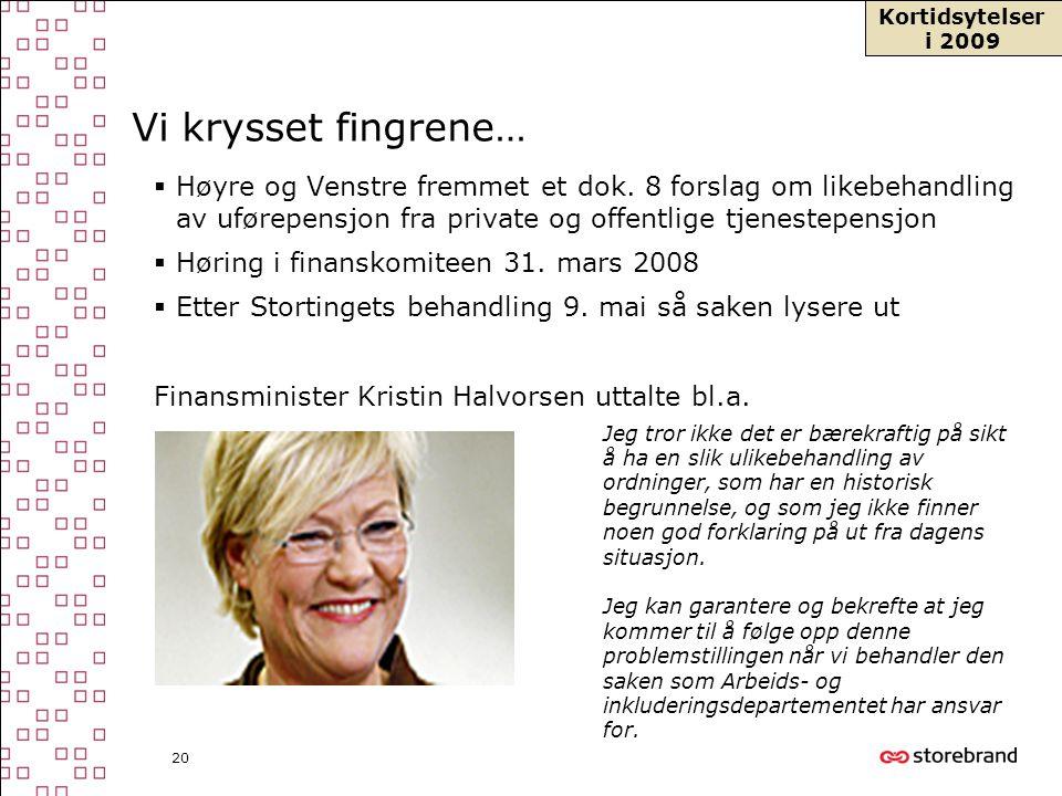 20 Vi krysset fingrene…  Høyre og Venstre fremmet et dok. 8 forslag om likebehandling av uførepensjon fra private og offentlige tjenestepensjon  Hør