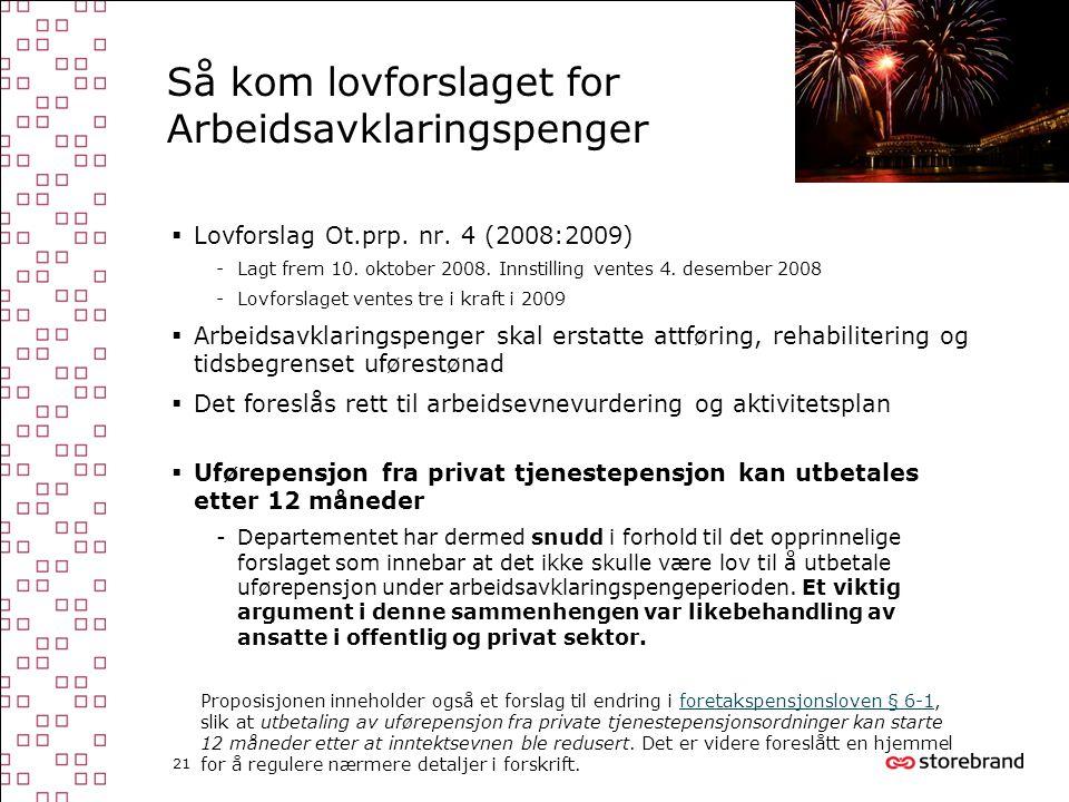21 Så kom lovforslaget for Arbeidsavklaringspenger  Lovforslag Ot.prp. nr. 4 (2008:2009) -Lagt frem 10. oktober 2008. Innstilling ventes 4. desember