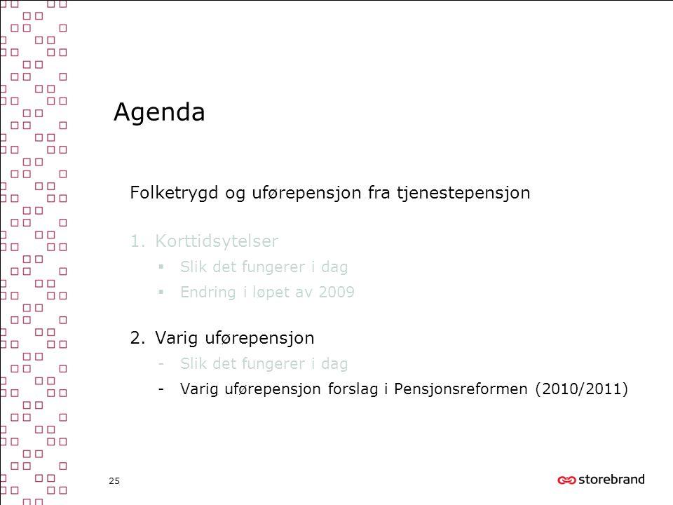 25 Agenda Folketrygd og uførepensjon fra tjenestepensjon 1.Korttidsytelser  Slik det fungerer i dag  Endring i løpet av 2009 2.Varig uførepensjon -S