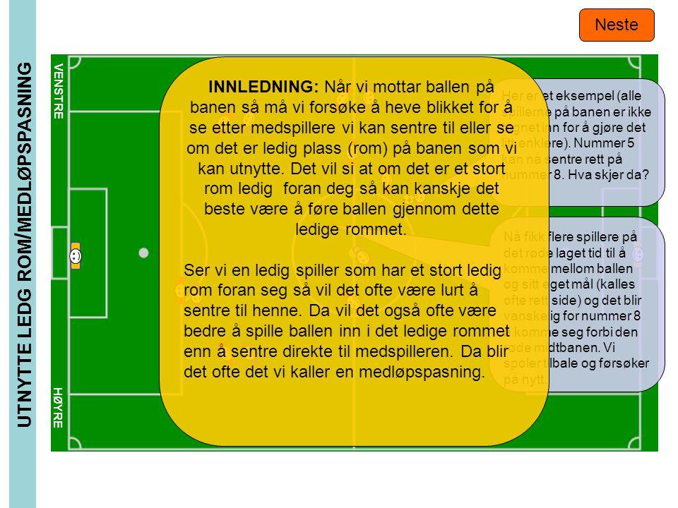 VENSTRE HØYRE UTNYTTE LEDG ROM / MEDLØPSPASNING Neste 8 5 Nå fikk flere spillere på det røde laget tid til å komme mellom ballen og sitt eget mål (kal