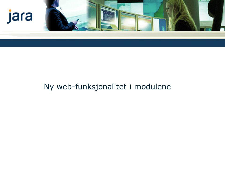 Ny web-funksjonalitet i modulene