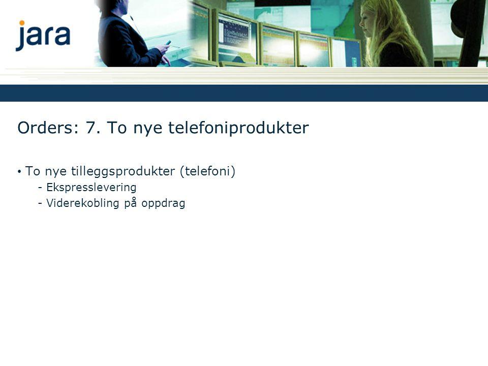 Orders: 7. To nye telefoniprodukter • To nye tilleggsprodukter (telefoni) - Ekspresslevering - Viderekobling på oppdrag