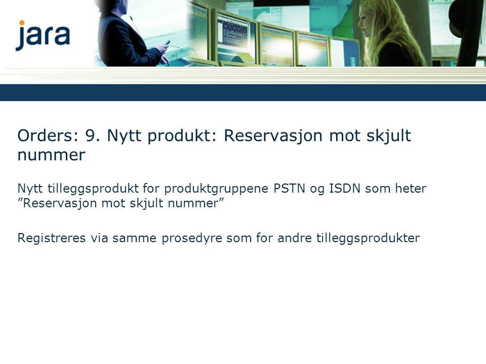 """Orders: 9. Nytt produkt: Reservasjon mot skjult nummer Nytt tilleggsprodukt for produktgruppene PSTN og ISDN som heter """"Reservasjon mot skjult nummer"""""""