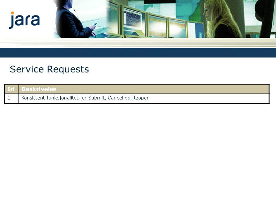 Service Requests IdBeskrivelse 1Konsistent funksjonalitet for Submit, Cancel og Reopen