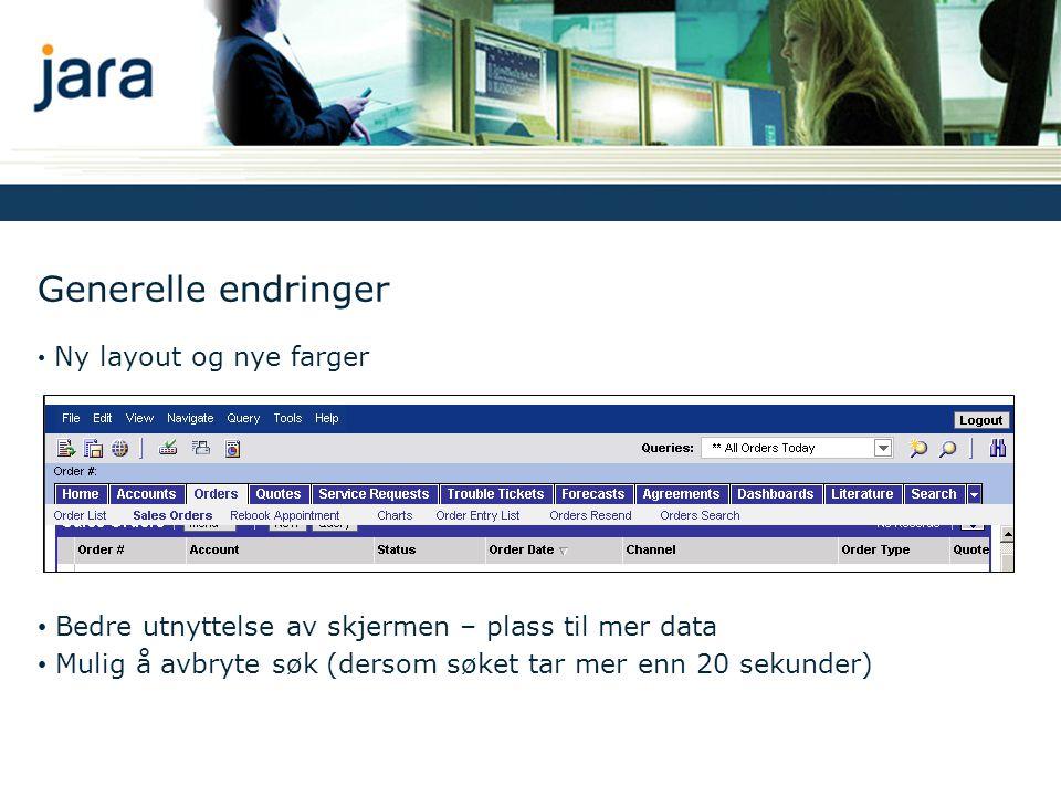Spesifikke endringer IdOmrådeFør (Siebel 7.5)Etter (Siebel 7.7) 1Endret presentasjon av Showlist RullgardinmenyLinker 2Ny menyknappIkon med rullgardinmeny Menu knapp med rullgardinmeny 3Utvidet hovedmenyFile, Edit, View og HelpUtvidet med flere menyer; Navigate, Query og Tools 4Nye knapper for navigeringEgne knapper i applikasjonenInternett Explorer knapper; History og Back og Forward 5Endringer List Applet*Tydelig skille mellom kolonnene *Synlige sorteringsknapper *Ingen synlige sorteringsknapper *Generelt mer plass til å vise data 6Endringer Form Applet*Feltnavn over felt*Feltnavn til venstre for felt 7Ny plassering av Queries- menyen Under modulene (Screens)Over modulene (Screens) 8Statisk produktkonfiguratorOppdatering av skjermbildet hver gang en feltverdi ble endret Ingen oppdatering av skjermbilde ved endring av feltverdier