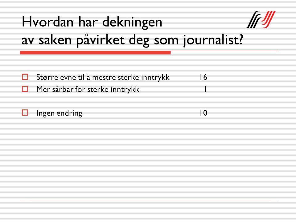 Hvordan har dekningen av saken påvirket deg som journalist?  Større evne til å mestre sterke inntrykk16  Mer sårbar for sterke inntrykk 1  Ingen en