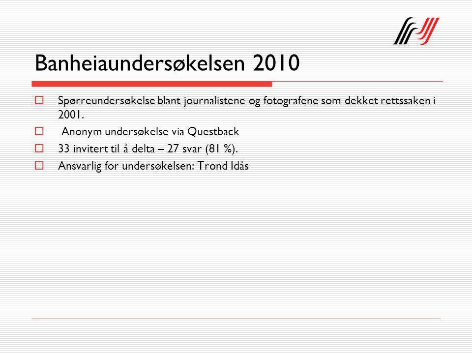 Banheiaundersøkelsen 2010  Spørreundersøkelse blant journalistene og fotografene som dekket rettssaken i 2001.  Anonym undersøkelse via Questback 