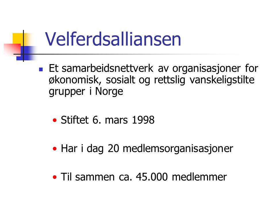 Velferdsalliansen  Et samarbeidsnettverk av organisasjoner for økonomisk, sosialt og rettslig vanskeligstilte grupper i Norge •Stiftet 6. mars 1998 •