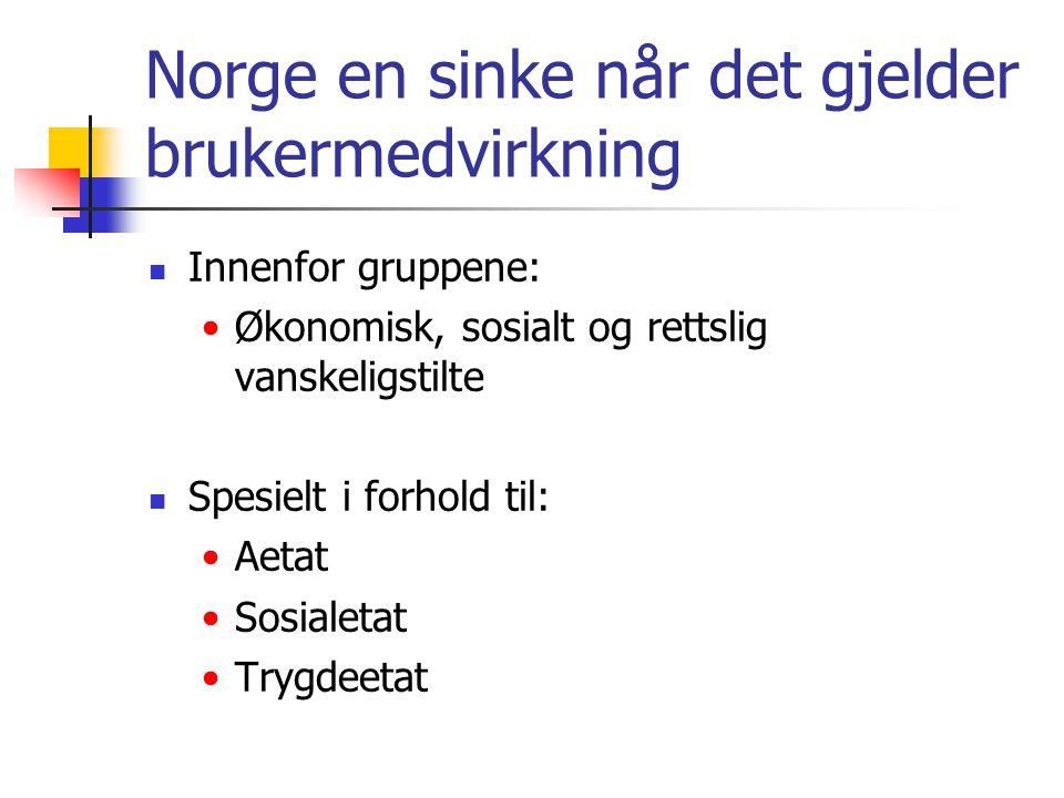 Norge en sinke når det gjelder brukermedvirkning  Innenfor gruppene: •Økonomisk, sosialt og rettslig vanskeligstilte  Spesielt i forhold til: •Aetat