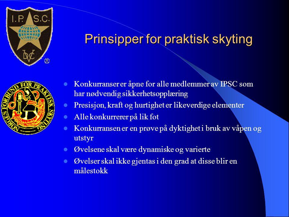 Prinsipper for praktisk skyting  Konkurranser er åpne for alle medlemmer av IPSC som har nødvendig sikkerhetsopplæring  Presisjon, kraft og hurtighe