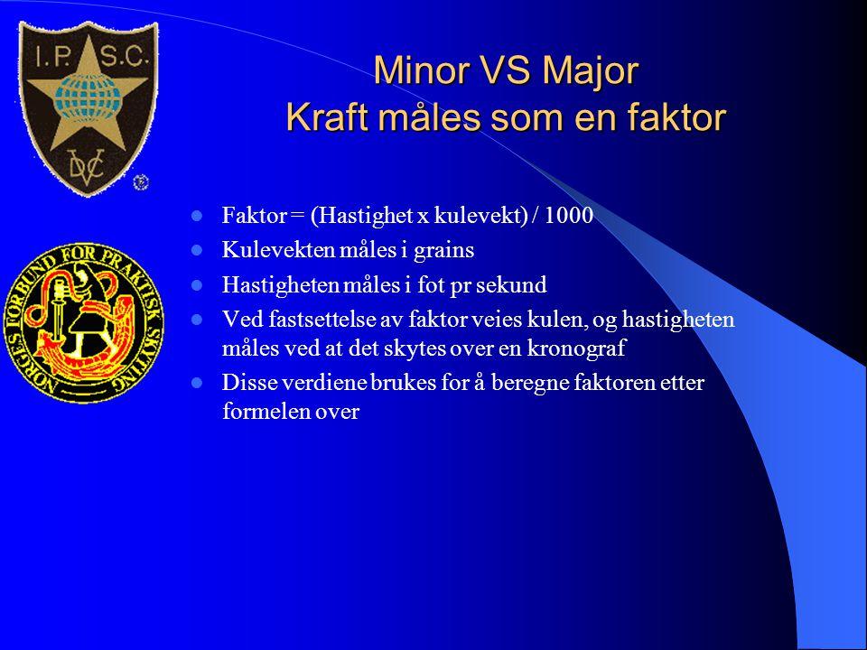Minor VS Major Kraft måles som en faktor  Faktor = (Hastighet x kulevekt) / 1000  Kulevekten måles i grains  Hastigheten måles i fot pr sekund  Ve