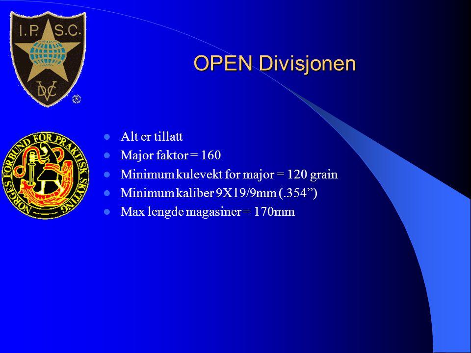 """OPEN Divisjonen  Alt er tillatt  Major faktor = 160  Minimum kulevekt for major = 120 grain  Minimum kaliber 9X19/9mm (.354"""")  Max lengde magasin"""