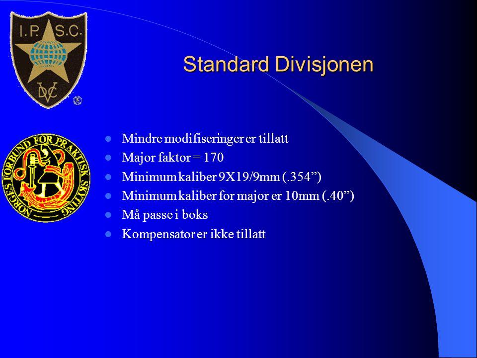 """Standard Divisjonen  Mindre modifiseringer er tillatt  Major faktor = 170  Minimum kaliber 9X19/9mm (.354"""")  Minimum kaliber for major er 10mm (.4"""