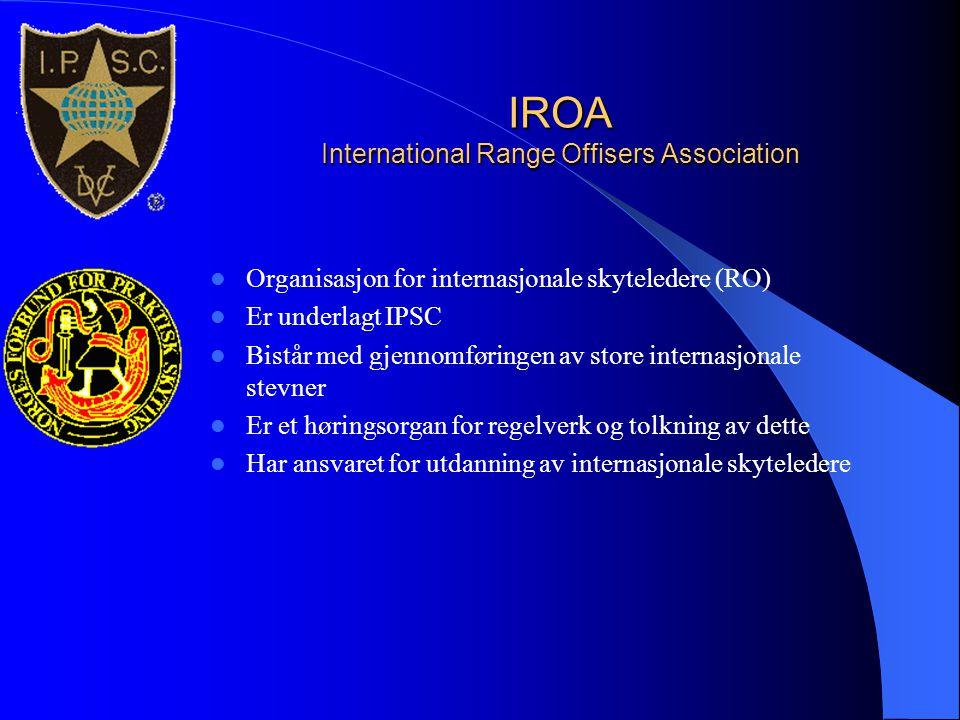 IROA International Range Offisers Association  Organisasjon for internasjonale skyteledere (RO)  Er underlagt IPSC  Bistår med gjennomføringen av s