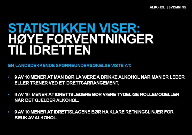STATISTIKKEN VISER: HØYE FORVENTNINGER TIL IDRETTEN EN LANDSDEKKENDE SPØRREUNDERSØKELSE VISTE AT: •9 AV 10 MENER AT MAN BØR LA VÆRE Å DRIKKE ALKOHOL N