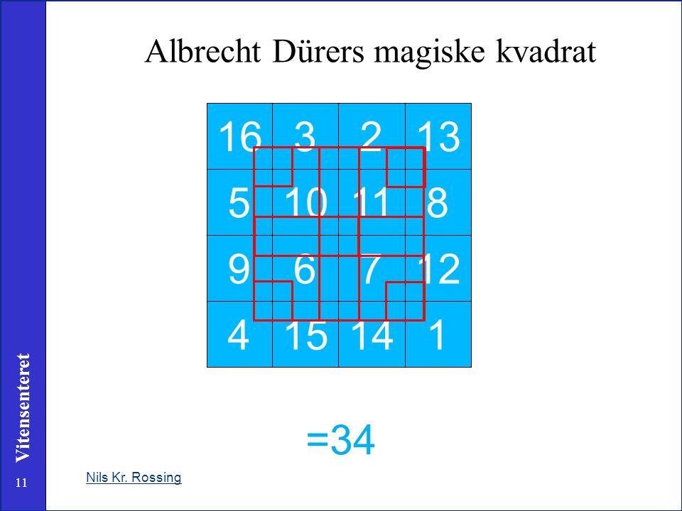 11 Vitensenteret Nils Kr. Rossing Albrecht Dürers magiske kvadrat 163213 510118 96712 415141 =34