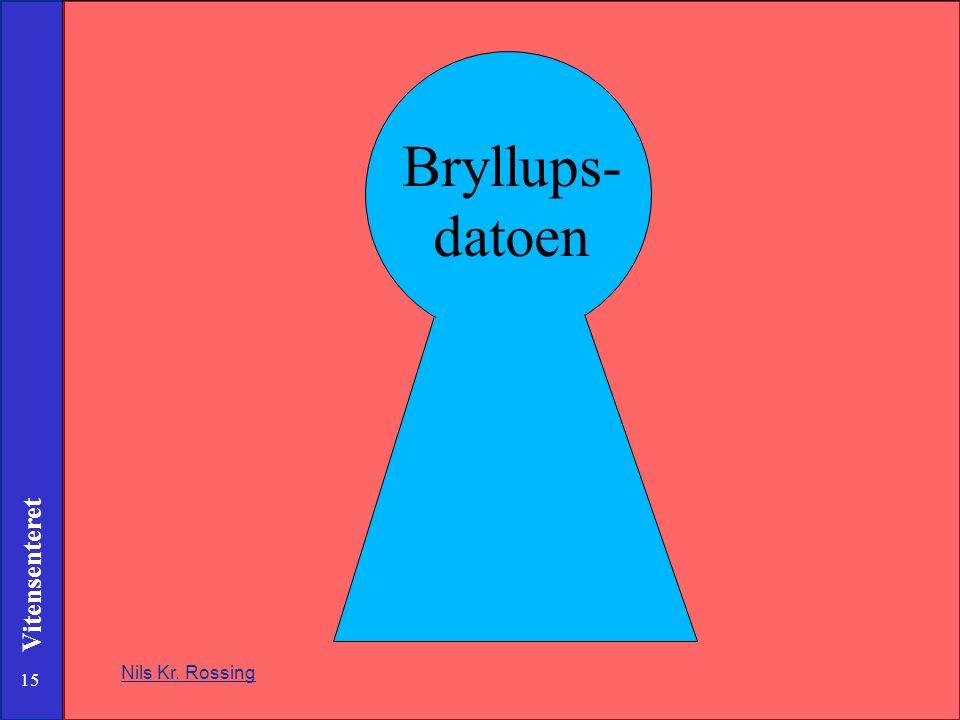 15 Vitensenteret Nils Kr. Rossing Bryllups- datoen